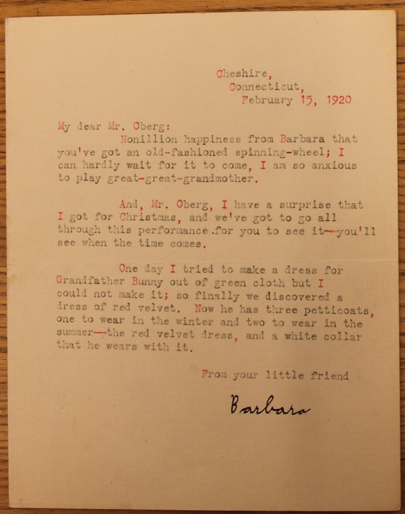 Letter to Mr. Oberg, February 1920