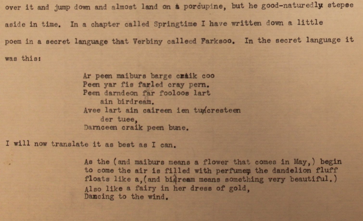 Barbara's first poem in Farksoo, May 1922