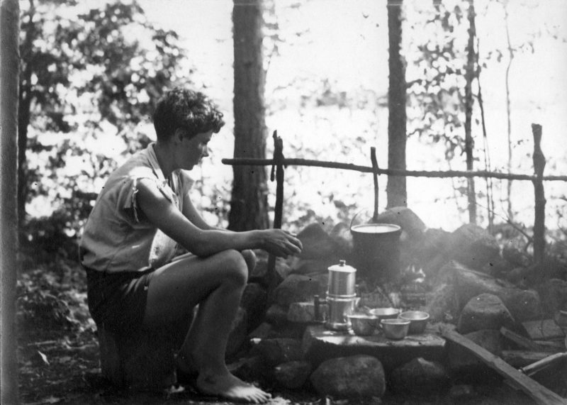 Barbara camping in 1932, possibly on a Squam Lake island. Photo by Nickerson Rogers.
