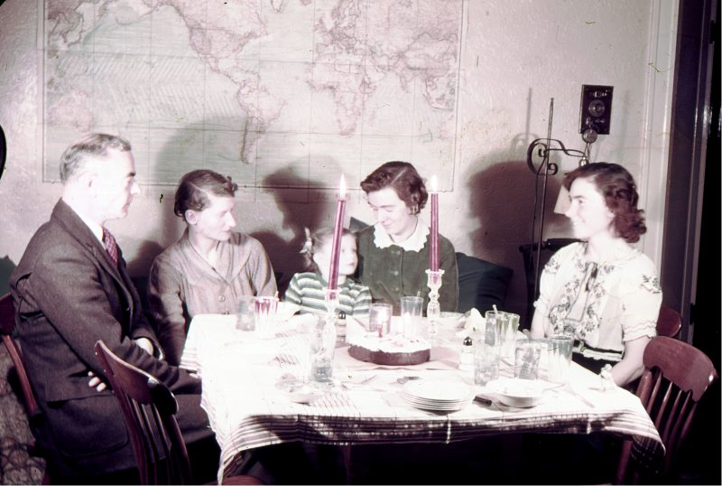 L-R: Wilson & Margaret Follett, Jane Follett, Grace Parker Follett (Grace was Wilson's oldest child from his first marriage, to Grace Huntington Parker, who died a week after giving birth), Barbara Follett. The occasion was my mother's second birthday, on February 9, 1937. Photo by Nickerson Rogers