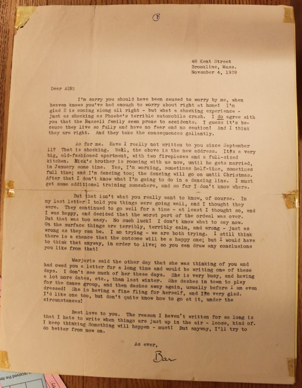 Barbara's last letter?