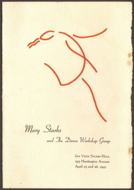 Dance Workshop Group program, 1941