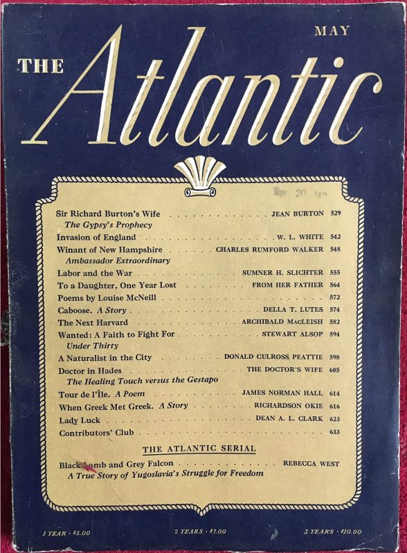 """To a Daughter, One Year Lost"" by Wilson Follett (anonymous), Atlantic magazine, May 1941"